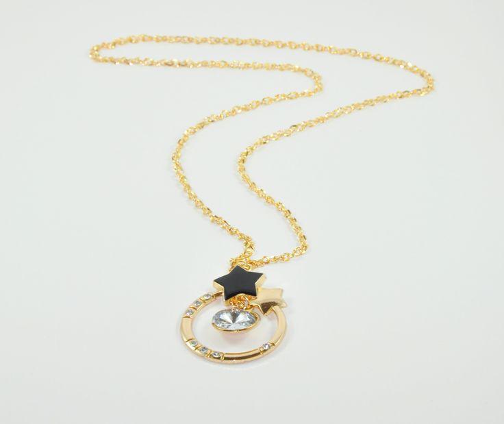 Gold yıldız 42 cm uzunlugunda taş detaylı kolye. www.suanyemoda.com