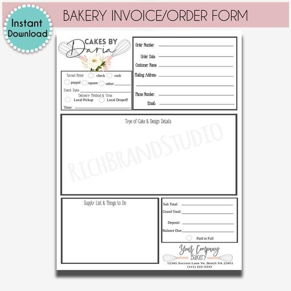 Diy Bakery Order Form Template Editable Order Form Sheet Cake Order Form In 2021 Cake Order Forms Order Form Sheet Cake