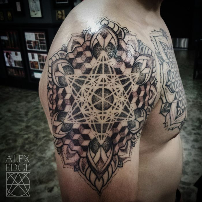 Tattoos | Geometric Dotwork Mandala Tattoo. Mandala tattoos are for men as well ;) Tattoo by Alex Edge in San Diego, CA check out more of his work www.alexedgetattoos.com