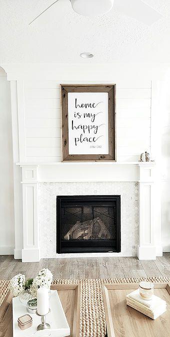@whitelanedecor #whitelanedecor Craftsman fireplace mantel, shiplap above mantel, white walls, marble hexagon tile,