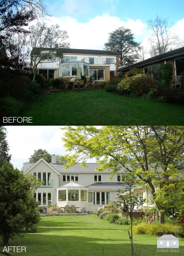 Exterior Rear Transformation of this 1960's home in Surrey. by Back to Front Exterior Design
