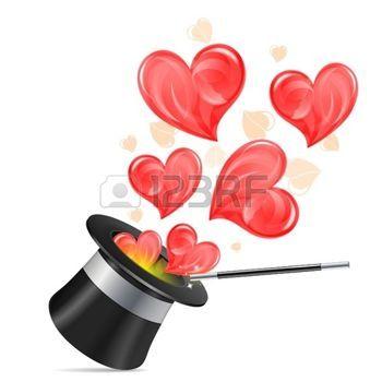 chapeau de magicien avec des coeurs et wand isol sur fond blanc illustration