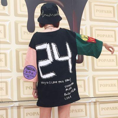 2016新作原宿系後ろにナンバー刺繍袖にマクドナルドビッグTシャツ