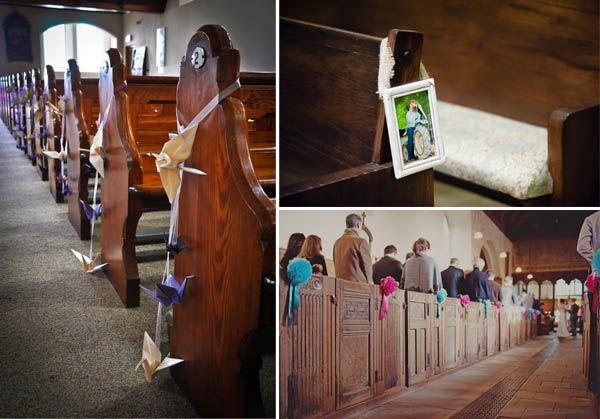 Dekoracja kościoła na slub - origami i zdjęcia