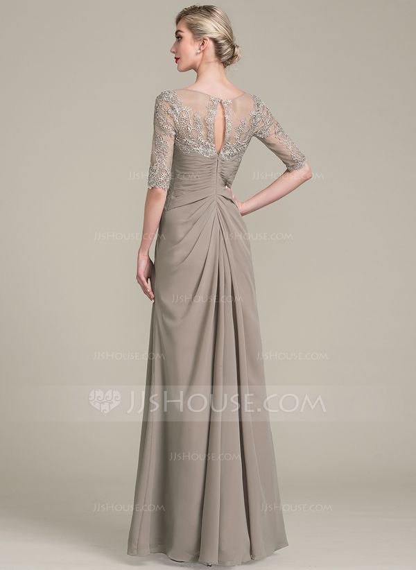 7cc747cc210 A-Line Princess V-neck Floor-Length Chiffon Lace Mother of the Bride Dress  With Ruffle