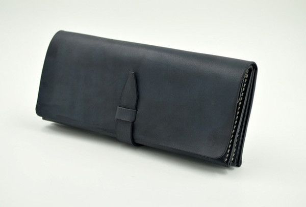 leather phone clutch long wallet Handmade vintage black minimalist leather phone…