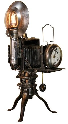 Steam punk clock out of camera. Cool! Maybe my tiny house should look like a steam punk camera as well as BEING a camera