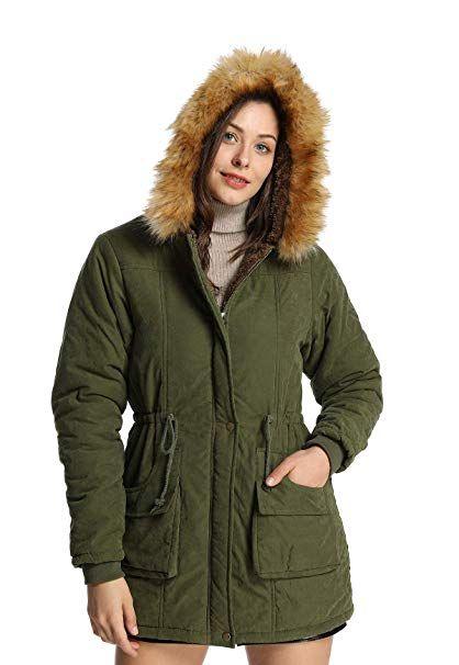 8edc4cad5d3 Amazon.com  iLoveSIA Womens Hooded Warm Coats Parkas with Faux Fur Jackets   Clothing