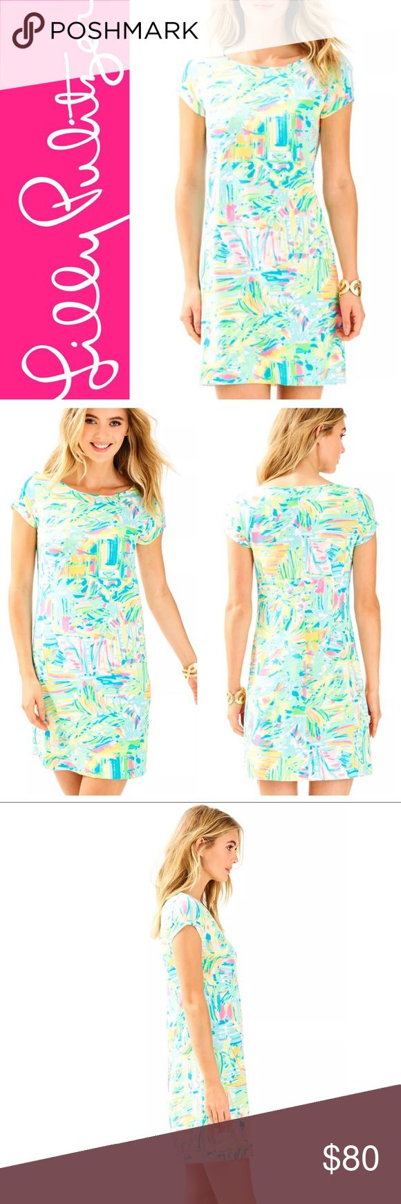"""{Lilly Pulitzer} Sea Salt Sun Short Sleeve Marlowe • Brand new with tags attached.  • Lilly Pulitzer Short Sleeve Marlowe Dress.  • Size medium.  • Multi Sea Salt and Sun print.  • Beautiful neon colors and so tropical!  • This is a printed short sleeve boatneck t shirt dress.  • Super cute and comfy.  • 100% pima cotton.  • Per Lilly's measurements: 35"""" from the top of the shoulder to the hem.  • Retail: $100 • Bundle your likes for a special offer!✨ • Instagram: @corals.closet Lilly…"""