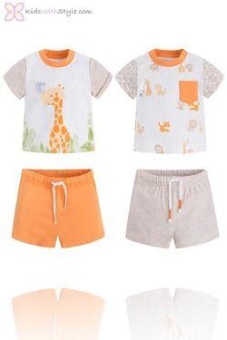 593ebf622a45 Baby Boy 4 Piece Giraffe T.Shirt and Shorts Sets Shop trending baby ...