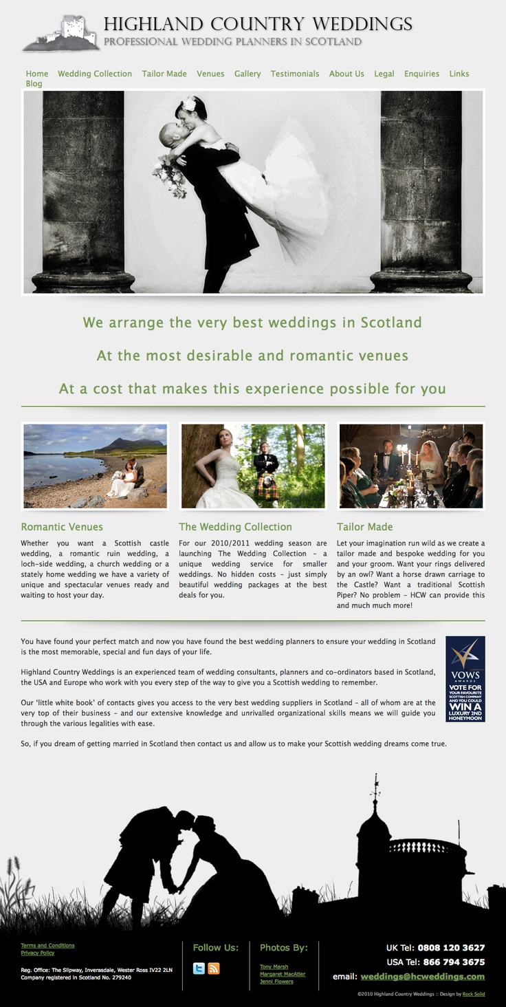 A website design we produced for Highland Country Weddings, this was never taken on by the client, so if anyone wants it please get in touch. All the great photos are by Tony Marsh.