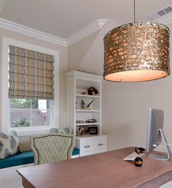 Sophisticated, yet playful too, we used this Uttermost Alita Metal Drum Pendant, #21108, for the children's play area of a client's studio and in a home office of a very special Kerrie Kelly Design Lab office.
