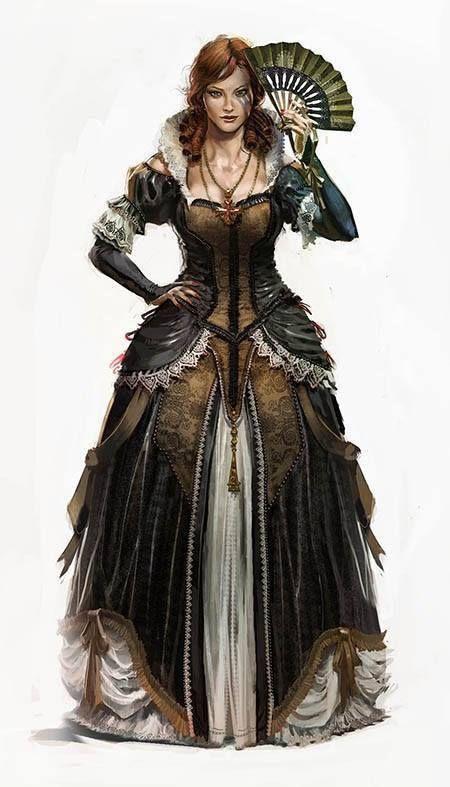 Dark Brown Dress Noble Woman