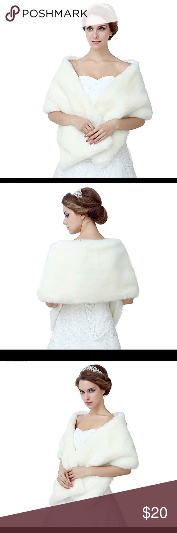❗️Brand new❗️Ivory faux fur shawl for wedding Ivory white faux fur shawl Diyouth Accessories Scarves & Wraps