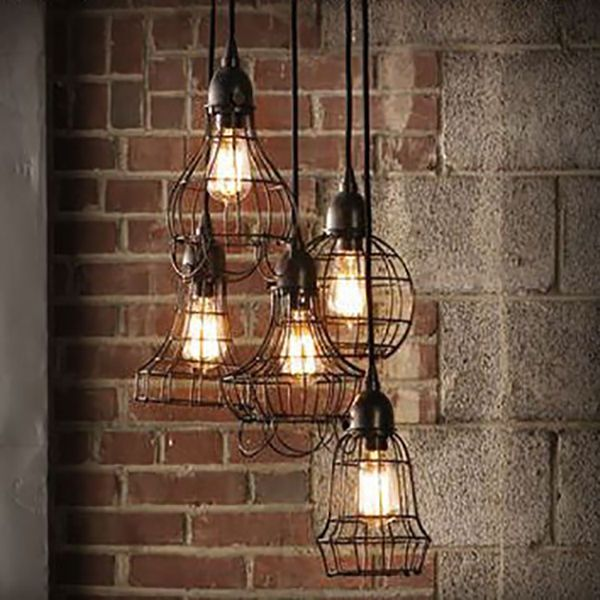 Details about edison vintage pendant light chandelier rustic wire cage ceiling hanging light - Hanging bulb chandelier ...