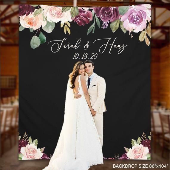 Hochzeitshintergrund, Plum Blush Floral Hochzeitshintergrund, Photo Booth Hochzeit Dekor Idee, lila Verlobungsfeier Hintergrund -WB38 Dena   – Products