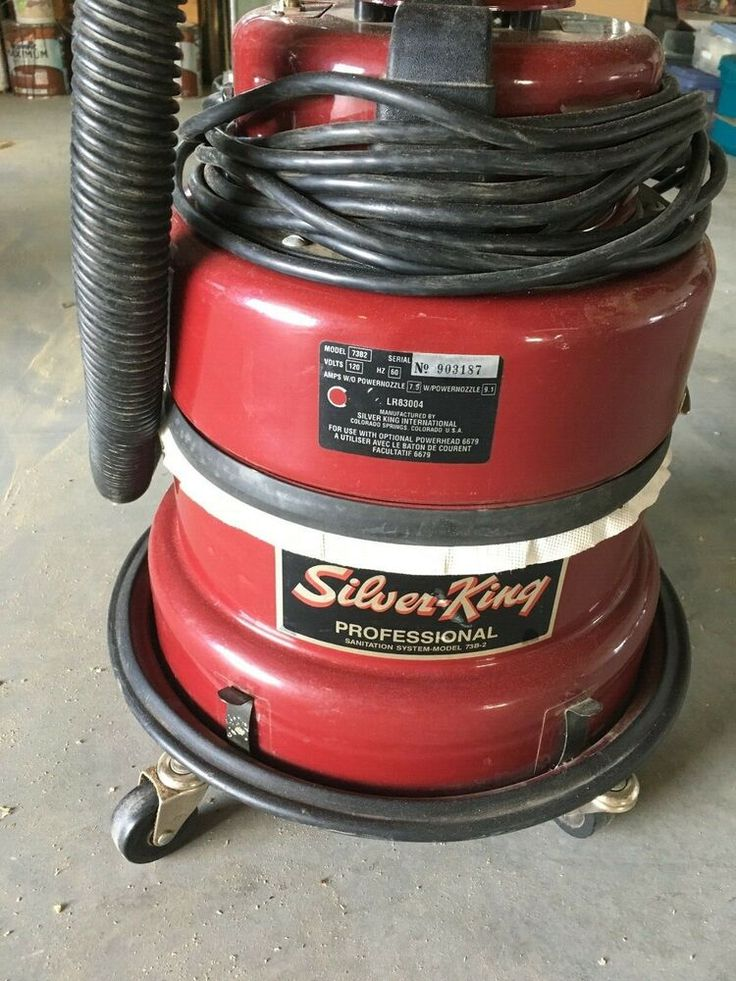 Vintage Silver King Red Canister Vacuum With Hose And