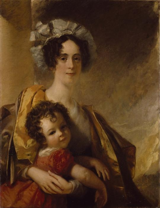 """""""Mrs. John Clerk Maxwell and her Son James"""" by William Dyce (1832-1833) at the Birmingham Museums, Birmingham - From the curators' comments: """"The child's informal pose and lively expression owe much to the influence of the artist of Sir Joshua Reynolds (1723-92) upon Dyce early in his career. Mrs Clerk Maxwell seems only just to succeed in holding the child in check. In adult life James Clerk Maxwell was one of the outstanding British physicists of the nineteenth century..."""""""
