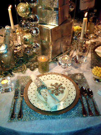 """like  some of the glittery ideas in this, but too Christmasy for us....  but I was at least looking at the wrapped """"silverware"""" or napkin...gives me the idea that you could wrap it in some kind of tinsel or something sparkly"""