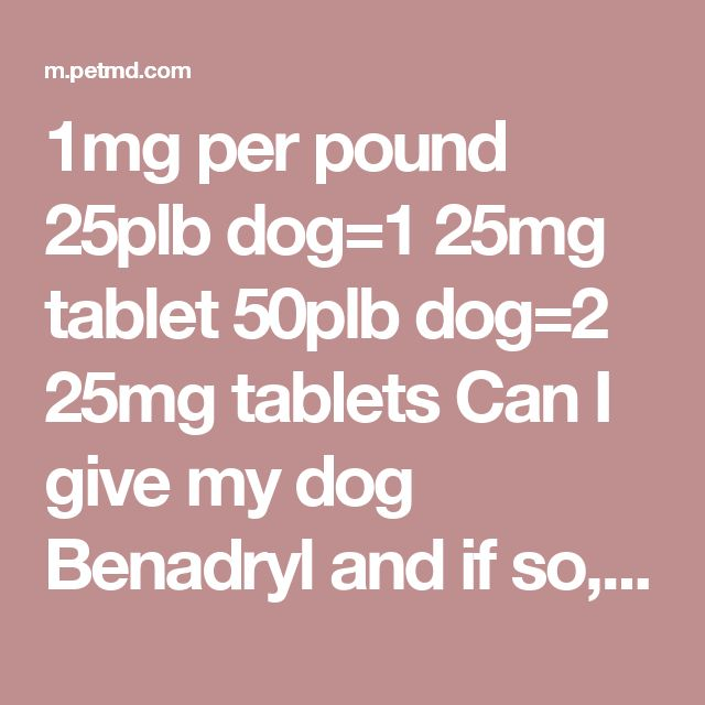 How Many Tablets Of Benadryl Can I Give My Dog