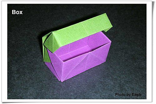 """Two piece origami box with """"hinged"""" lid.  Photo diagrams."""