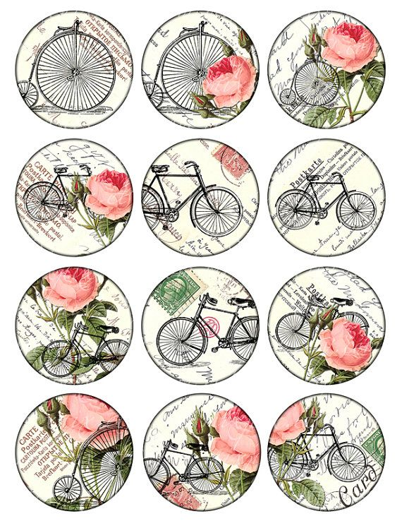 bikes and roses Vintage Printable Tags Digital Collage Sheet large circle images…
