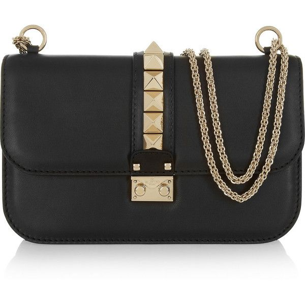 Valentino Lock medium leather shoulder bag (2,820 CAD) ❤ liked on Polyvore featuring bags, handbags, shoulder bags, valentino, purses, bolsas, black, leather purses, genuine leather handbags and hand bags