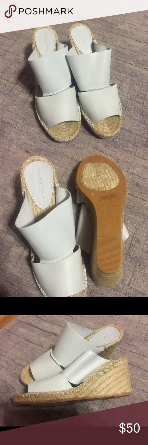 Charles David leather white espadrilles never worn Never worn new in box 3 inch comfortable heels Charles David Shoes Espadrilles