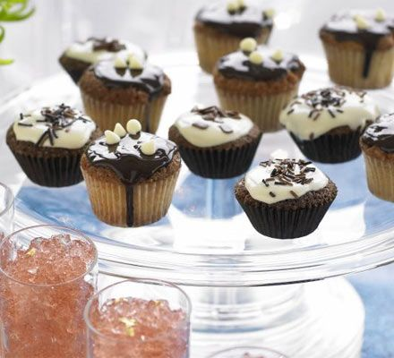 Chocolate & vanilla cupcakes: There's no need to keep your canapés savoury. Treat your guests to these dainty little cakes.