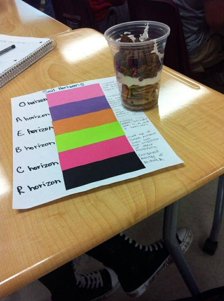 Edible soil horizons with descriptions for each layer for Soil profile for kids