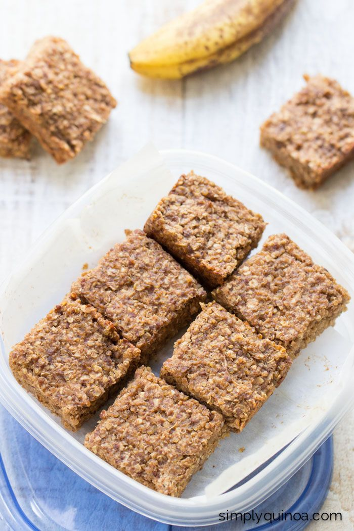 On-the-Go Banana Quinoa Breakfast Bars. They're perfect for when you're on the go but still want a nutritious and filling breakfast. {gluten-free + vegan}