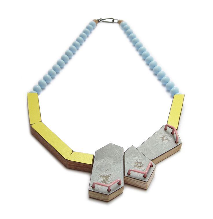 Karen Vanmol Necklace: Cultivate, 2014 Wood, Laminated, brass, paint, silver, plastic vintage beads KASKA alumni