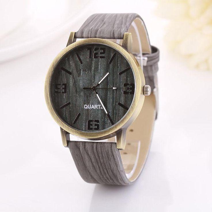 Vintage Wood Grain Watches Fashion Women Quartz Watch Wristwatch