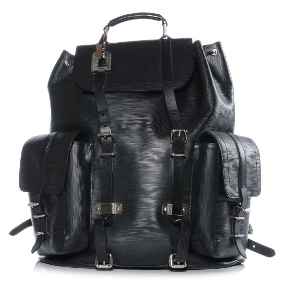 This is an authentic LOUIS VUITTON Epi Christopher Backpack in Black SO.   This attractive backpack is crafted of Louis Vuitton signature textured epi leather.