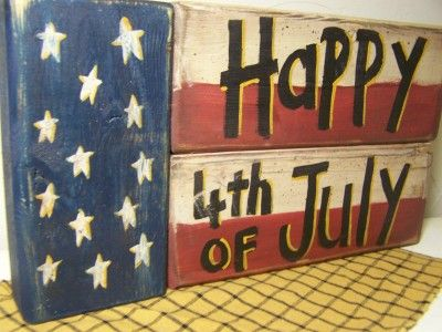 4th of july wooden crafts | BS-10 Happy 4th of July sign stacking blocks