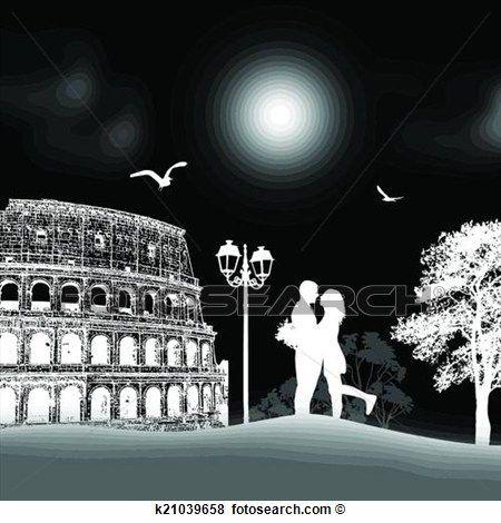 pärchen, silhouette, in, rom