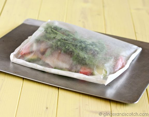 Two Easy-Peasy Recipes: Fish in a Bag!   Thai Fish-in-a-Bag and French Fish-in-a-Bag                       http://gingerandscotch.com/2008/01/easy-peasy-fish-in-a-bag.html
