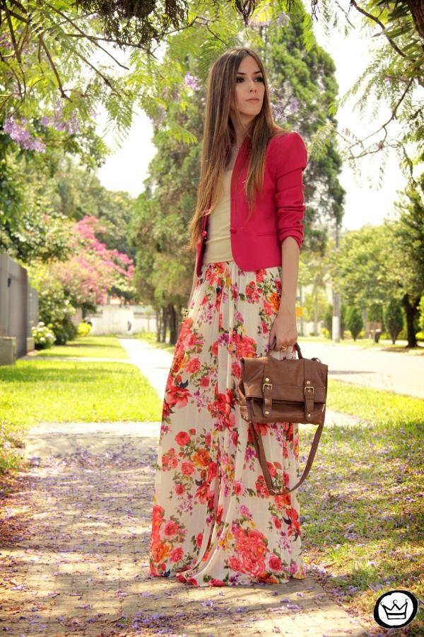 pink blazer, floral print