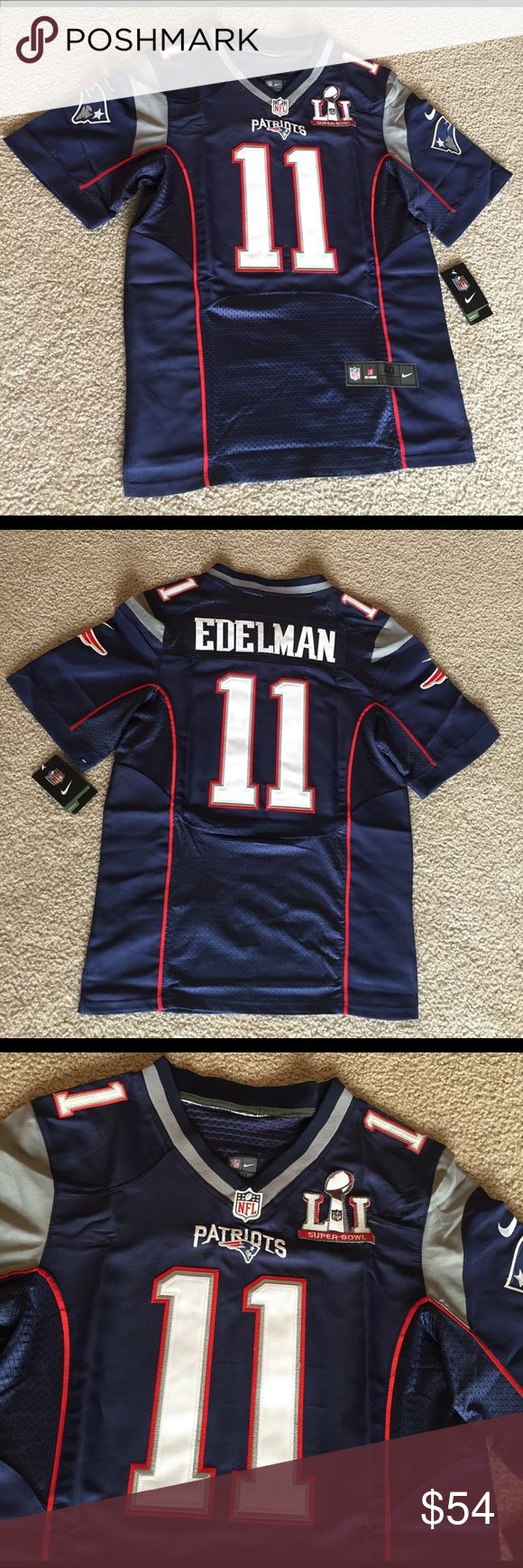 Patriots Super Bowl 51 Football Jersey EDELMAN #11 Brand new with tags! Fast shipping! New England Patriots Julian Edelman Football Jersey #11 blue Super Bowl 51 (superbowl). Men's adult sizes: medium / 40 , large / 44 , extra large / XL / 48 , double extra large / XXL / 2XL / 52 , triple extra large / XXXL / 3XL / 56 ... I also have soccer jerseys for sale and Brady , gronkowski , White ... feel free to ask questions or for sizing Shirts Tees - Long Sleeve