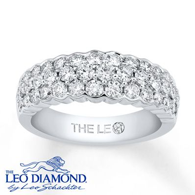 Leo Diamond Anniversary Band 1-1/2 cttw Diamonds 14K White Gold