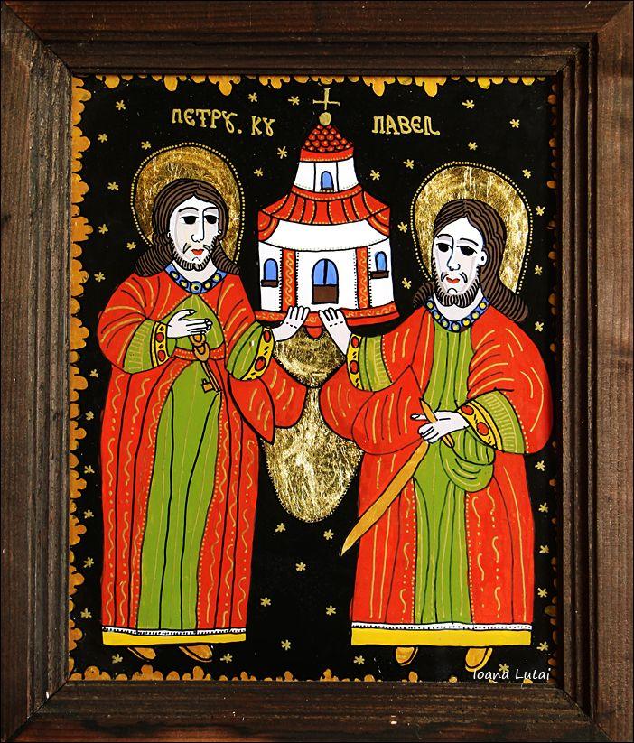 Sfintii Petru si Pavel - Icoane pe sticla Sapanta - Ioana Lutai - foto Cristina Nichitus Roncea http://icoanepesticla-sapanta.ro