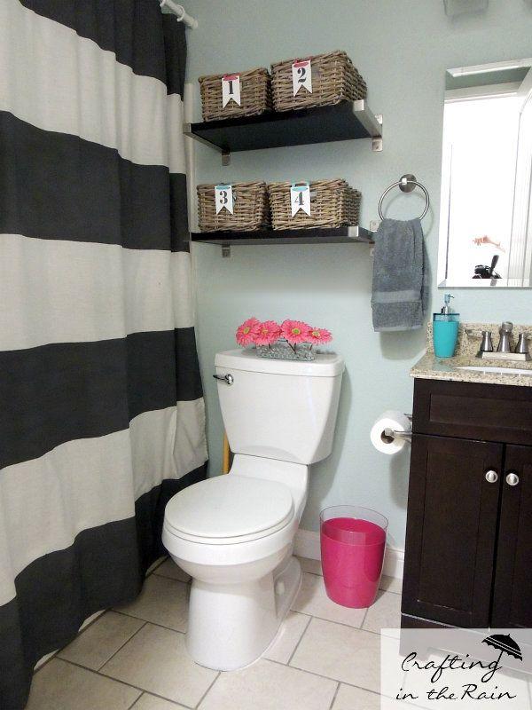 Small Bathroom Ideas | Crafting in the Rain ** Horizontal stripe for shower curtain