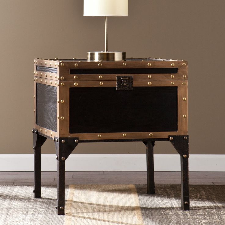 Southern Enterprises Murphy Travel Trunk End Table In Antique Black        Air Beds, Sheets, Mattresses, And Bedding Accessories