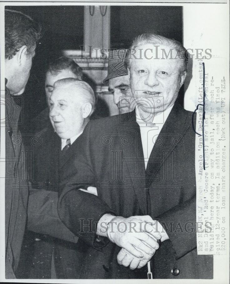 Daniel Cecere aka Red (1916-1990) was a soldier in the Genovese family, Jersey faction. Pic was taken in 1970 when he and Gyp DeCarlo went to trial on extortion and arsenic poison charges. DeCarlo is seen on Cecere's left. The victim was Louis Saperstein who died Nov. 26, 1968. Both got 12 years in prison but DeCarlo managed to get presidential pardon after 18 months served.