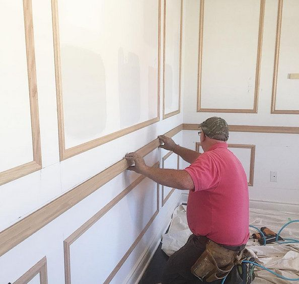 As interior decorator Vanessa Francis's carpenter installed chair rail,  panel and crown moulding, a feeling of excitement and grandeur filled the air for her #OneRoomChallenge! #interiorfinishings