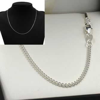 50cm Sterling Silver Round Curb Chain Necklace - SN-CD60