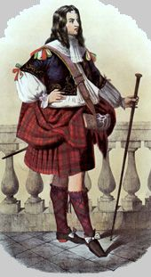 Robertson clansman dressed in Robertson tartans painted in the late 1800's