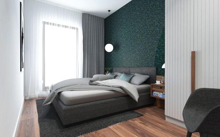 amenajare apartament mic dormitor cu tapet parchet dulap alb