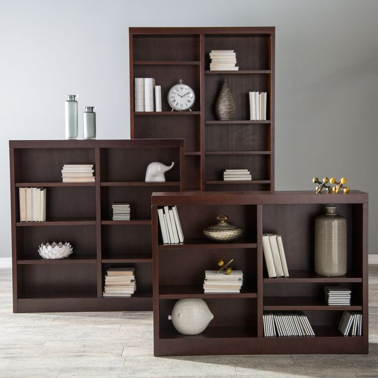 Belham Living Jefferson Double Wide Bookcase - Espresso - Beautifully crafted, the Belham Living Double Wide Bookcase in Espresso is a gorgeous addition to any room in your home. Crafted from poplar wood, MDF...