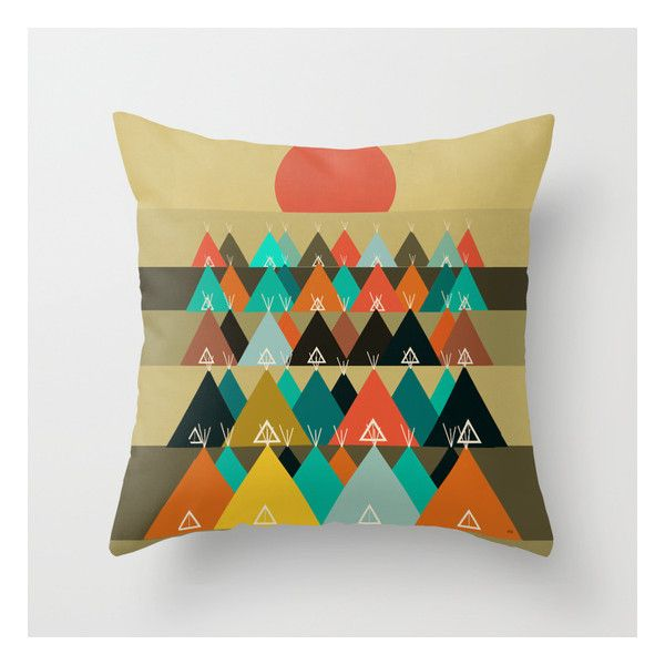 Tipi Moon Throw Pillow (€19) ❤ liked on Polyvore featuring home, home decor, throw pillows, moon home decor and graphic throw pillows